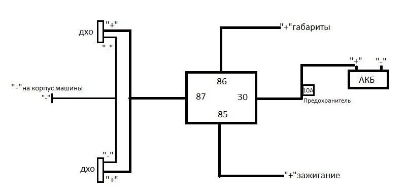 5 0 - Схема подключения дневных ходовых огней через реле