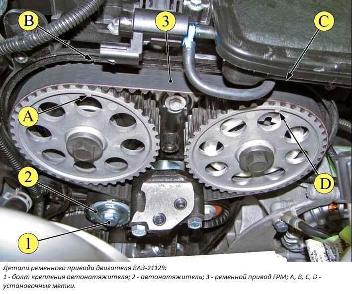 Схема двигателя 21129
